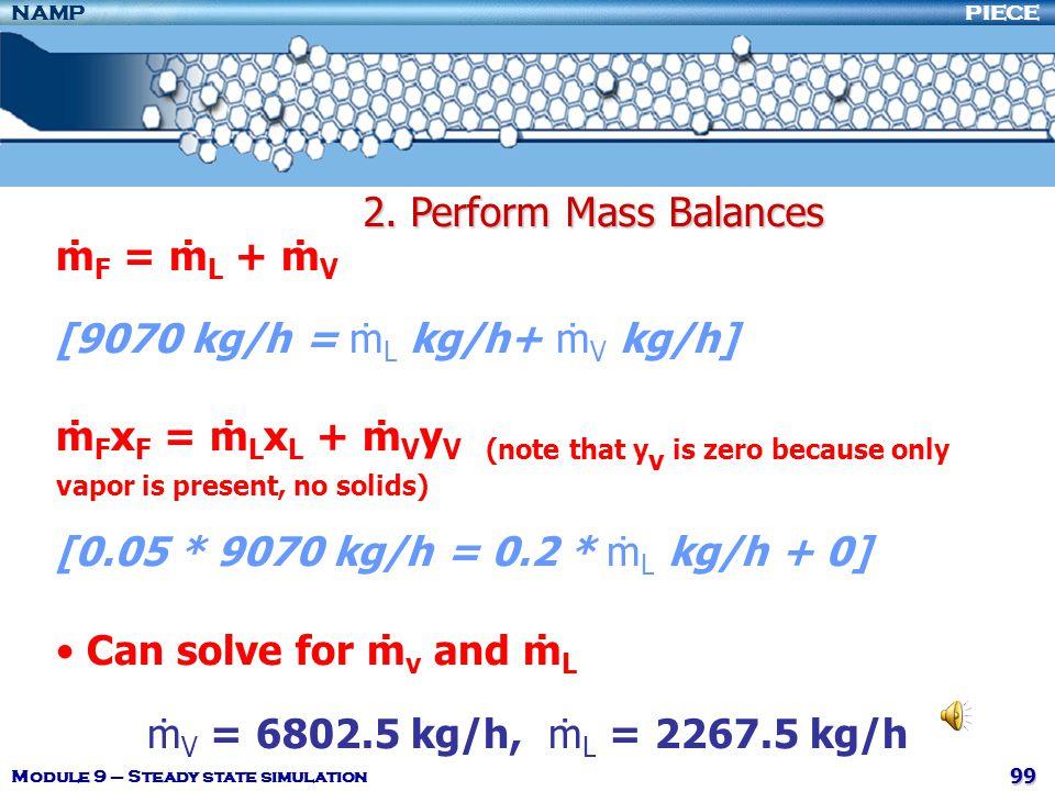 [9070 kg/h = ṁL kg/h+ ṁV kg/h]